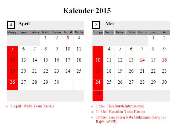 Kalender April - Mei 2015