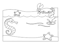Crab on the beach in this free coloring book by Robert Aaron Wiley for Microsoft Office Online