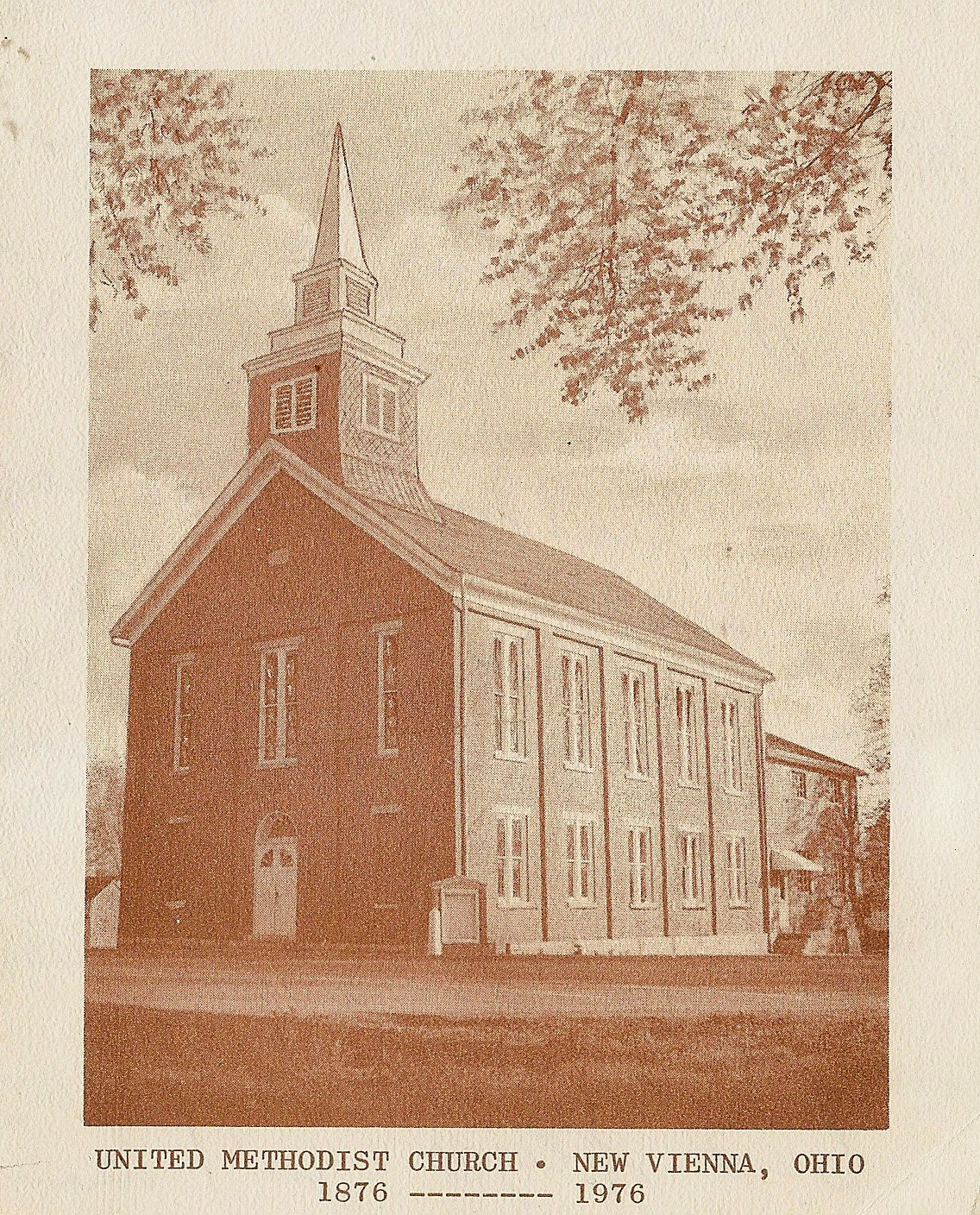 United Methodist Church O New Vienna Ohio 1876 1976 Front Of Notecard