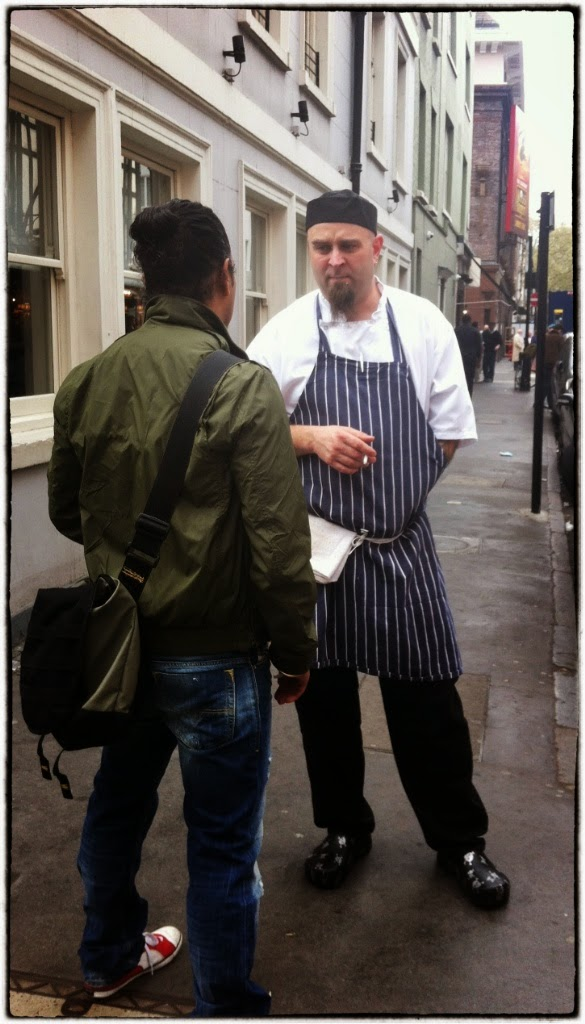 soho chefs taking a break, London 2015