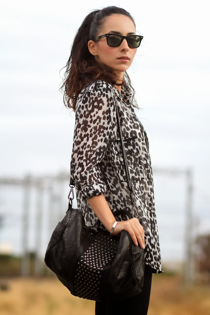 LEOPARD SHIRT IN BLACK & WHITE and STUDDED BAG