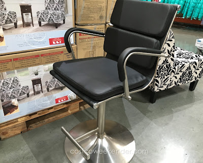 Add more seats at your kitchen counter with the Bayside Furnishings Gas Lift Bar Stool
