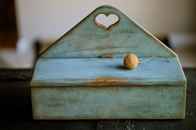 "Heart Storage Box in light blue paint, 8"" H x 12"" W x 5"" Deep, $79.00  SOLD"