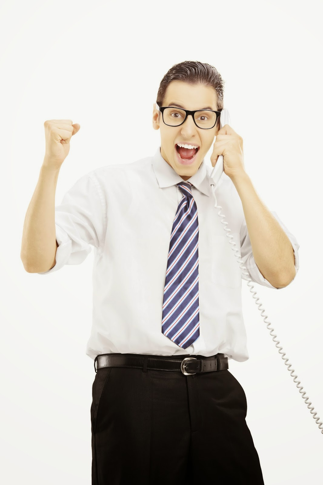 Excited businessman on the phone