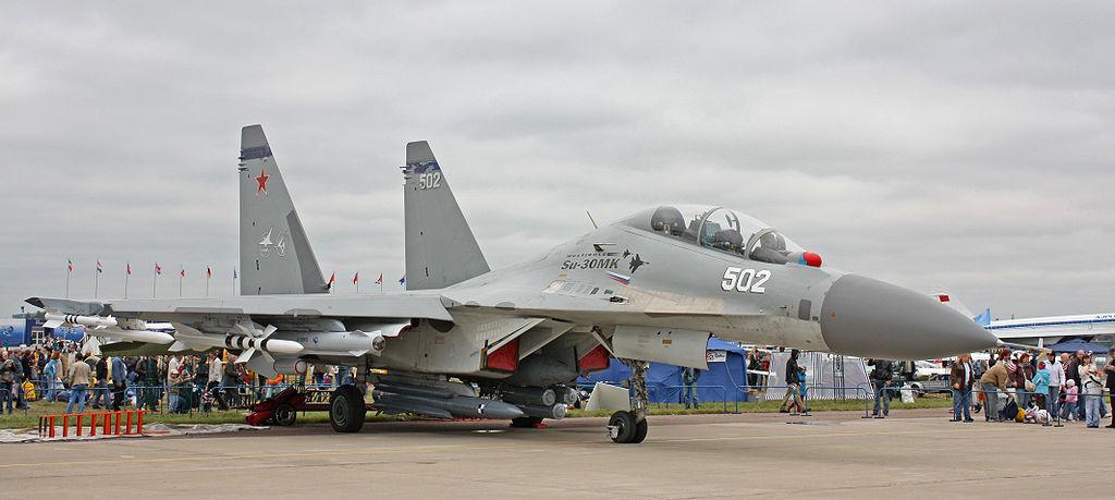 Chiến đấu cơ Su-30MK2 tại một cuộc triển lãm hàng không MAKS ở ngoại ô thủ đô Mát-xcơ-va, Nga