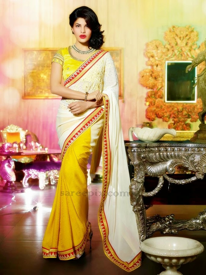 Mustard-off-white-faux-georgette-saree
