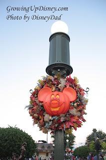 WDW Magic Kingdom Pumpkin Decorated Lamp post