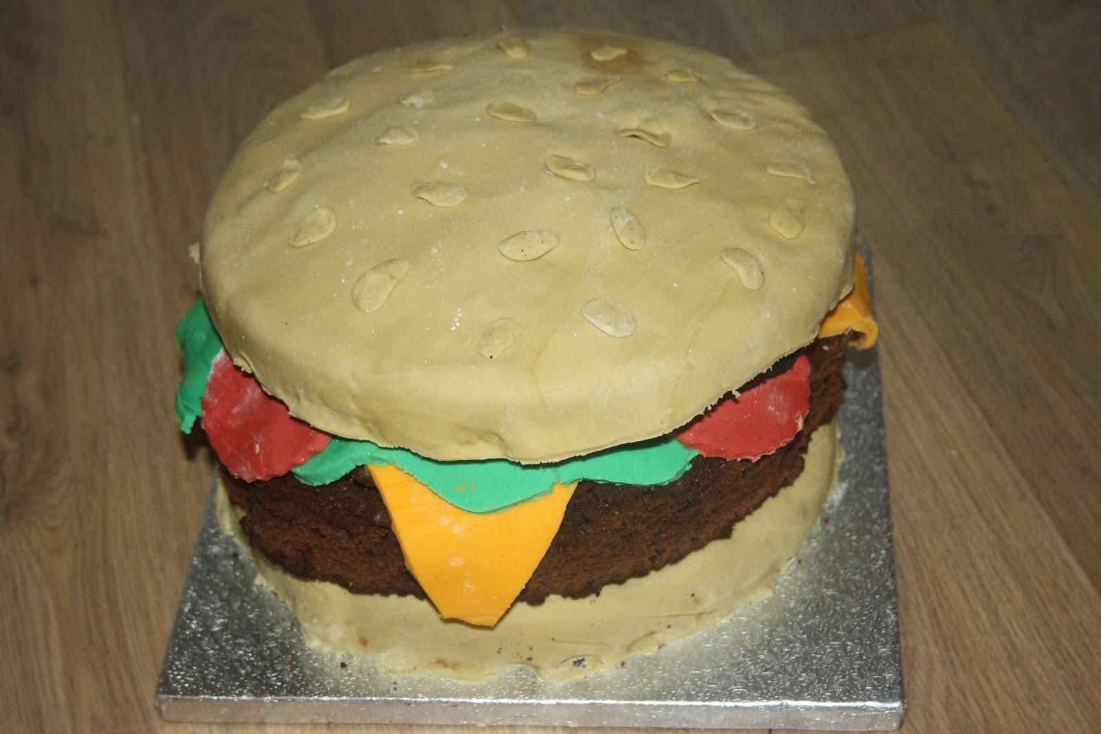 Caroline Makes Giant Hamburger Birthday Cake