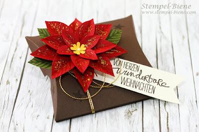 Weihnachtliche Pillowbox, stampin Up Festliche Blüte, Weihnachtsstern basteln, Geldgeschenke Weihnachten basteln, Weihnachtsworkshop stampin up, stempel-biene, stampin up bestellen