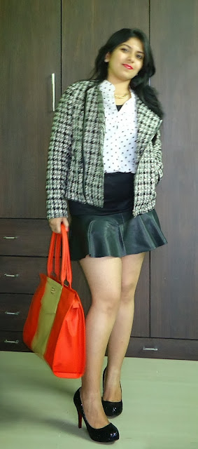 Outfit: Polka Dot Shirt, Tweed Jacket, leather panel skirt, toteteca bag