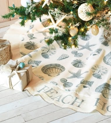coastal shell fabric tree skirt