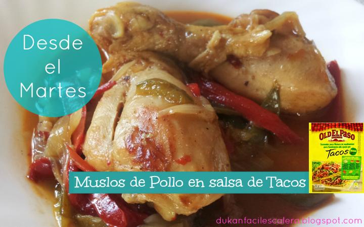 Receta fácil y sabrosísima,expectacular muslos de pollo en salsa de tacos de old el paso,una comida para disfrutarla en compañia o invitados.