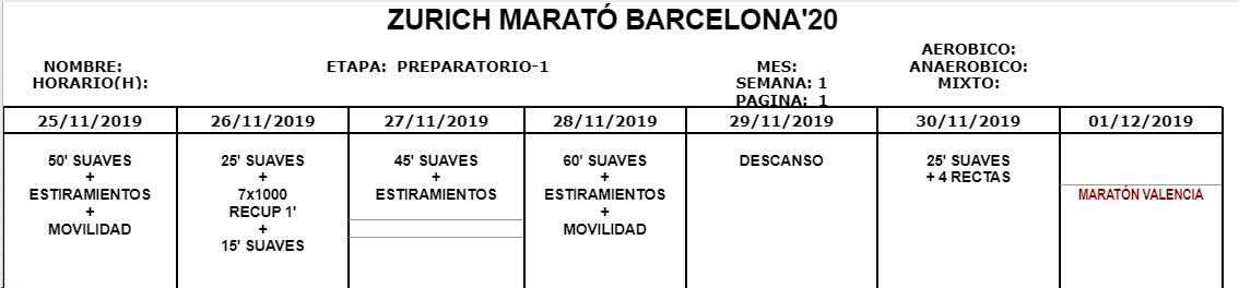 Entreno Maratón Bcn 2020