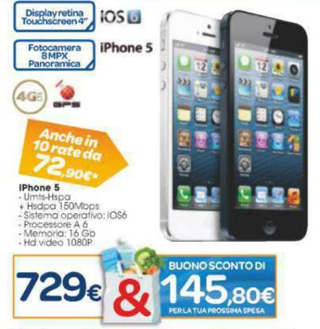Carrefour offre l'iPhone 5 con bonus spesa e a tasso zero nel suo ultimo volantino spendi e riprendi