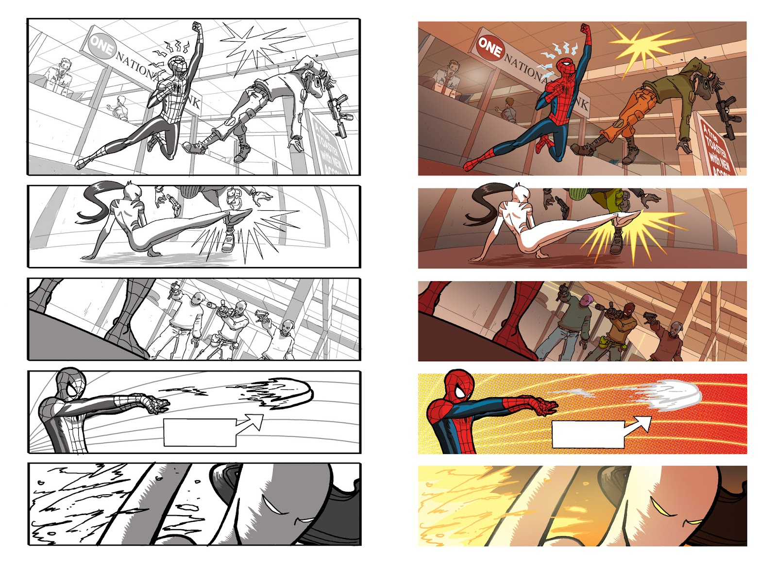 marvel universe ultimate spider man 2 pages in bw and color