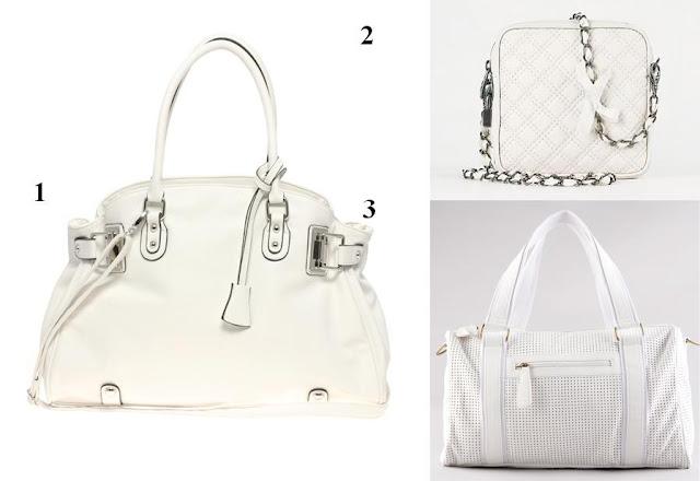 Bolso blanco Asos, bolso blanco Massimo Dutti y bolso blanco Bershka P/V 12