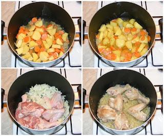 carne si legume calite inabusit, preparare mancare de mazare cu carne de pui si legume, retete culinare, cum se face mancare de mazare, mancare de mazare cu morcovi si cartofi si carne de pui, retete mancaruri cu legume si carne,