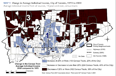 Toronto income change by area