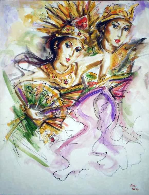 28 Karya Lukisan Tarian Bali yang Artistik