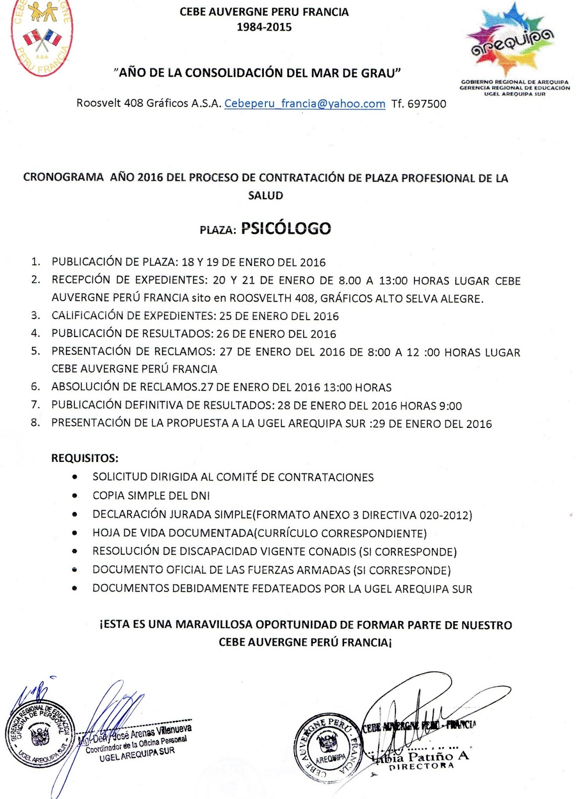 Contrato 2016 plaza de psic logo noticias m s for Convocatoria de plazas docentes 2016