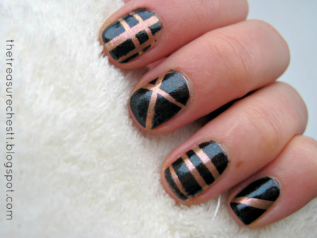 stripe duct tape manicure nail art nyx robotic kallos no 17 love nail polish swatch