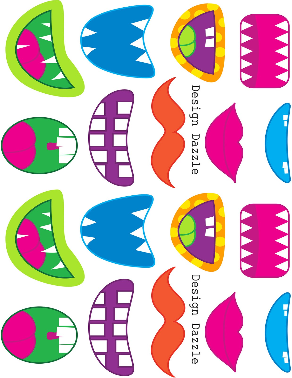 Impertinent image inside printable monster faces