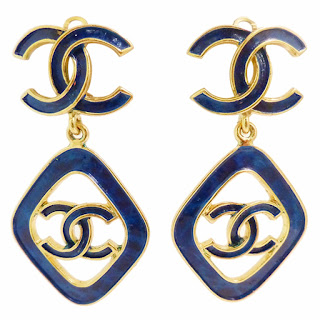 Vintage 1990's blue Chanel dangling earrings.