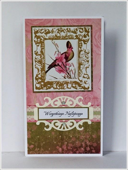 różowa kartka, kartka rozkładana, składaczek