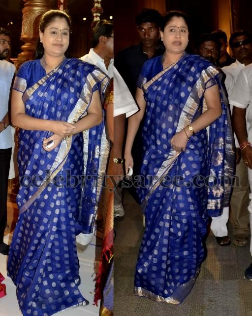 Vijaya Shanthi Blue Chanderi Saree
