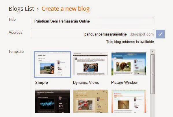 panduan dan cara buat blog