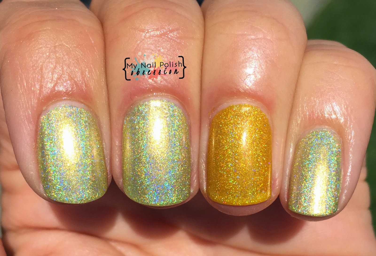 Comparison of Smitten Polish An Opera of Canaries & Sunny Side Up