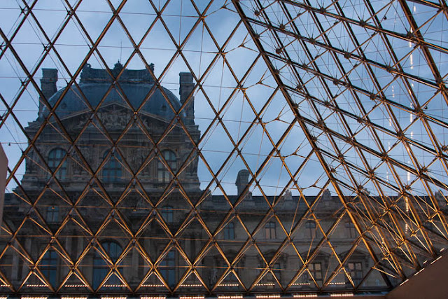 view from the inside of I.M. Pei pyramid at the Louvre