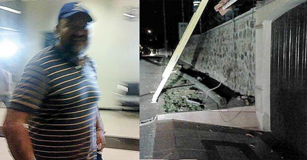 El concejal y la foto del poste derribado