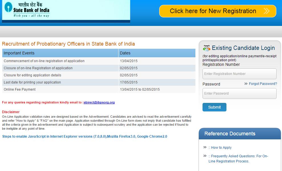 sbi online application for probationary officer 2014