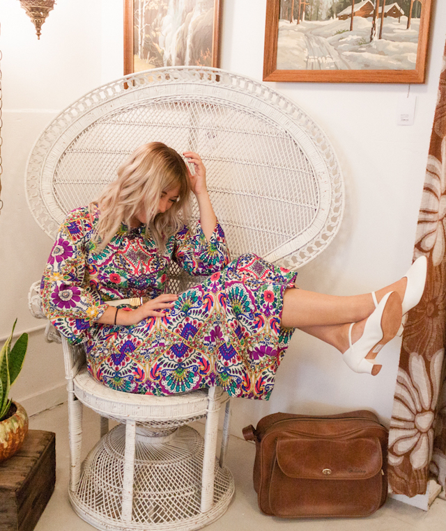 Cool and Unique Fashion Bloggers Vintage 60's 70's Bohemian Style Paisley Culotte Jumpsuit on Blogger Stone Fox Style.