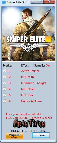 Sniper Elite 3 V1.02 Trainer +6 MrAntiFun