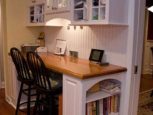Shine your light kitchen office area for Desk in kitchen ideas