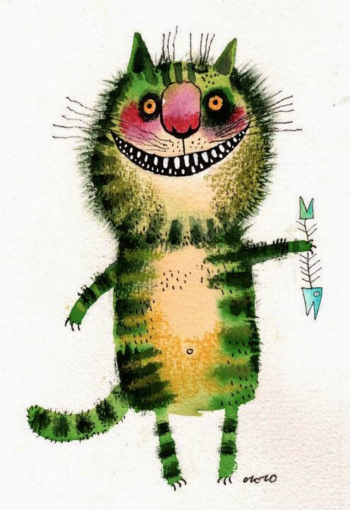 big fat green cat illustration by Nastassia Ozozo