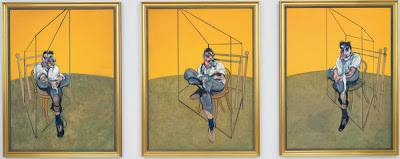 Lucian Freud, Bacon's friend and rival, perched on a wooden chair (Francis Bacon, 1969)