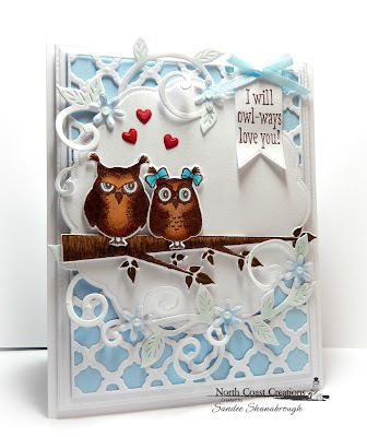 North Coast Creations Stamp set: Who Loves You?, North Coast Creations Custom Dies: Owl Family, Flourished Vine, Our Daily Bread Designs Custom Dies:Doily, Beautiful Boho Background, Flower Box Fillers, Pennant, Umbrella