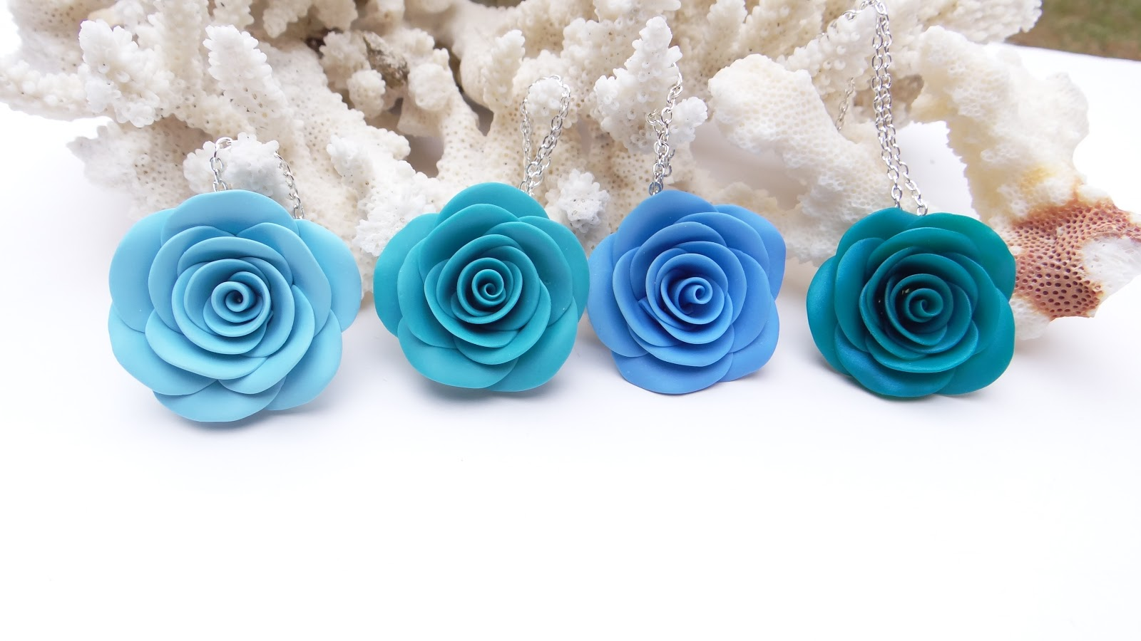 Blue Rose Necklace Pink Rose Necklace Blue Wedding Theme Pink