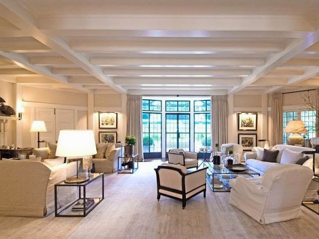 traditional transitional large open white cream living family room tray ceiling
