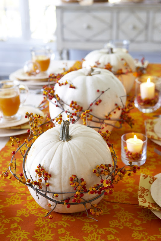 white pumpkin and bittersweet table decor