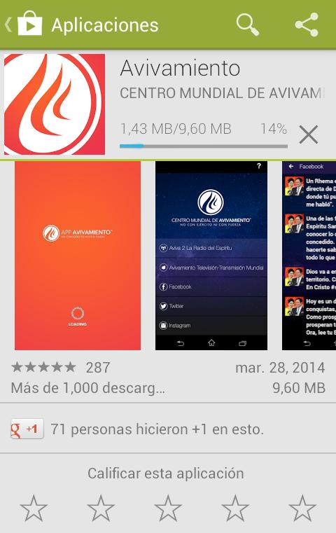 descargando e instalando App Avivamiento