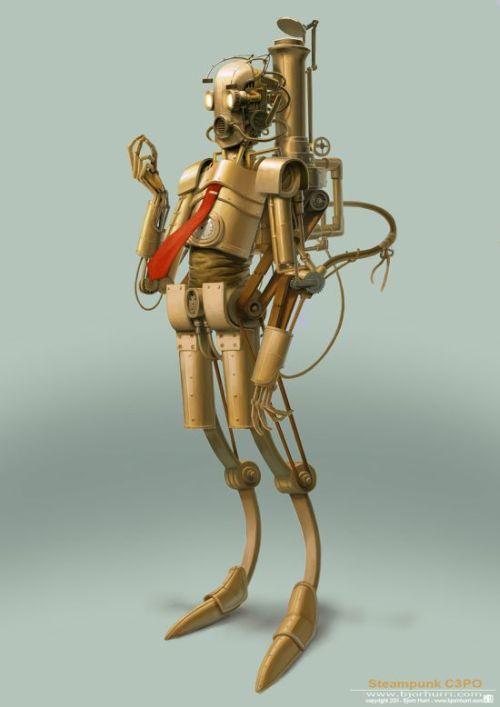 Bjorn Hurri ilustrações fantasia Star Wars steampunk C3PO