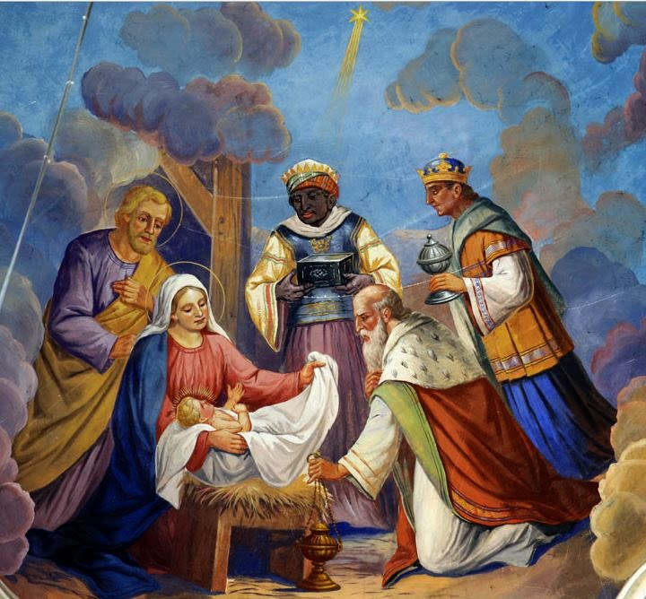 Barok schilderij op plafond kerk kerstmis drie koningen
