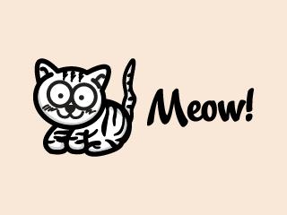 Black Striped Cat Mascot Logo