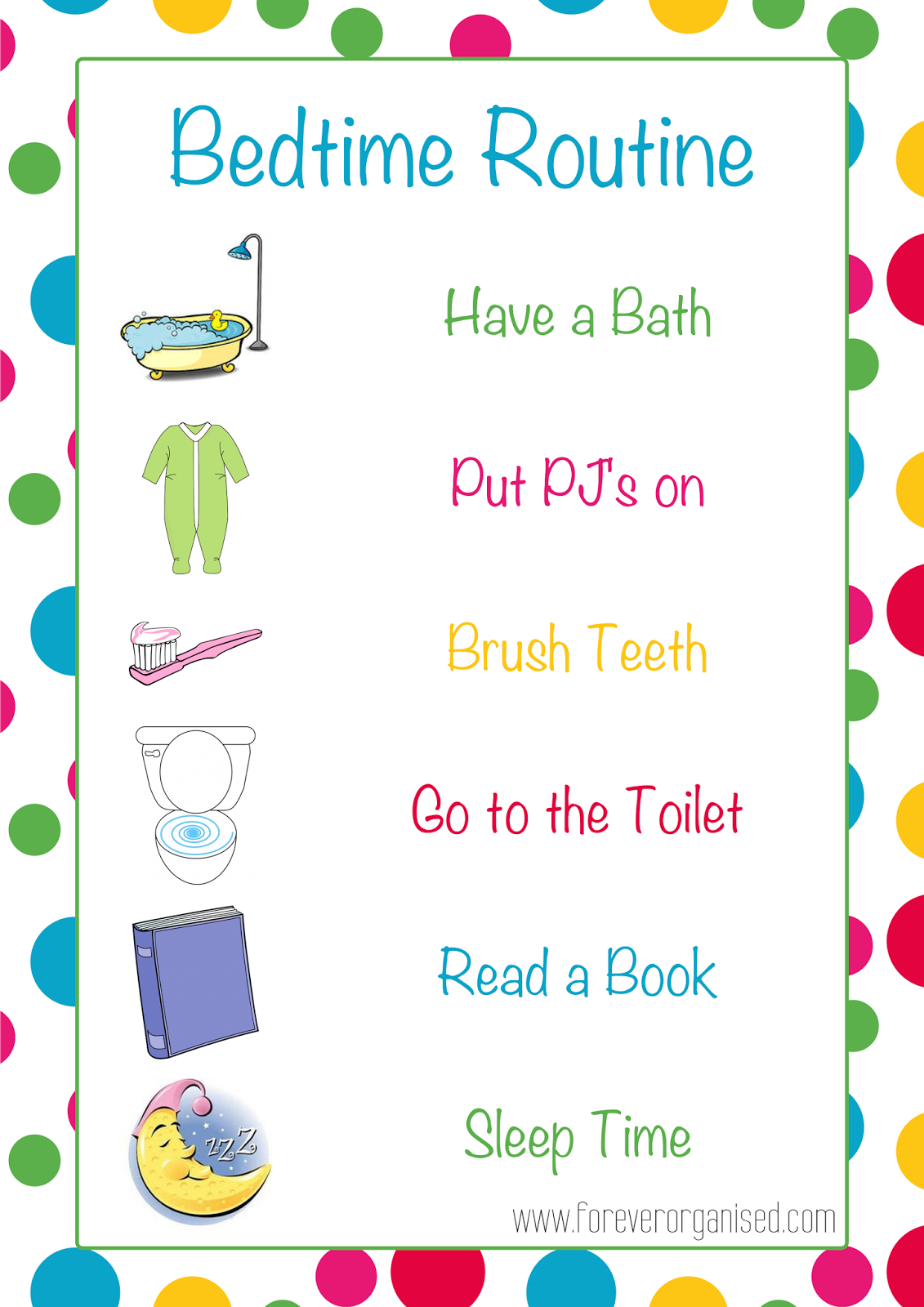 Daily Routine Clipart Morning and bedtime routines