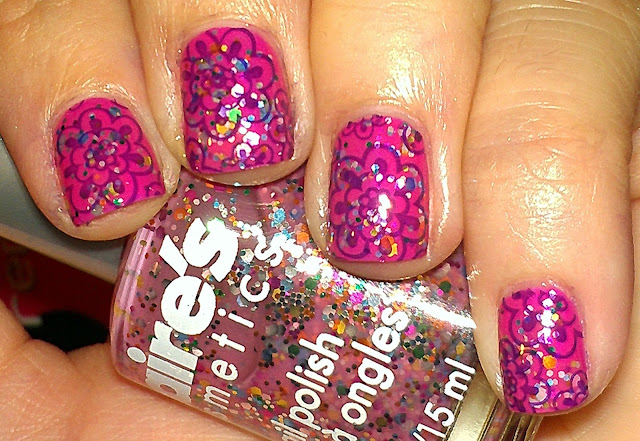 pink multi-glitter, stamping