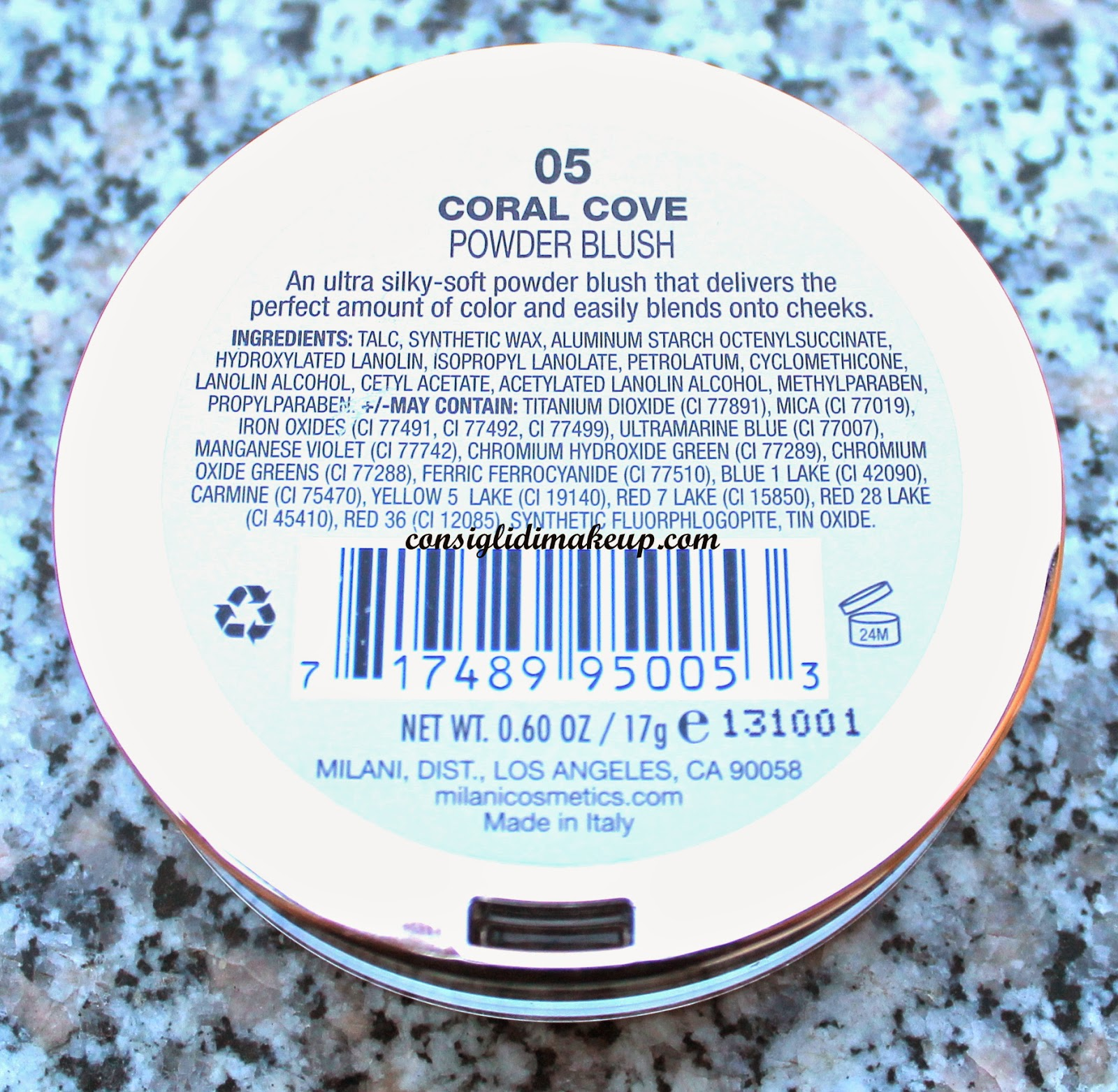 Review Powder Blush Coral Cove  Milani inci